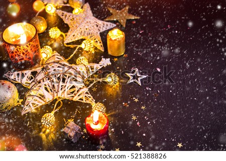 Christmas decoration on wooden background, close-up.