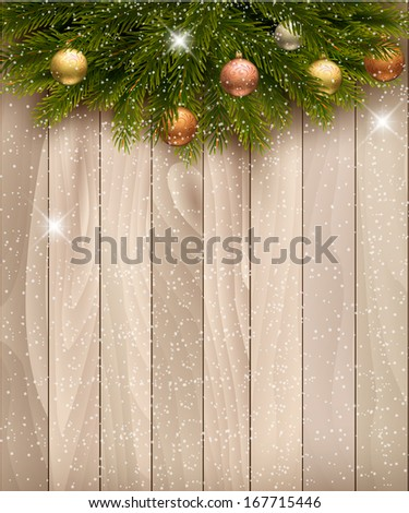 Christmas decoration on wooden background. Raster version. - stock photo