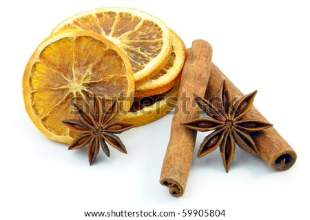 christmas decoration, orange and cinnamon, isolated on a white background - stock photo