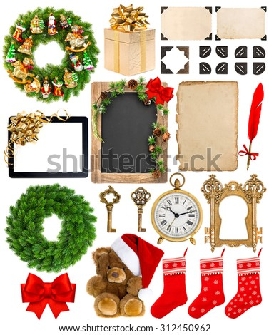 Christmas decoration, ornaments and gifts. Old book page, paper, scroll, wreath, blackboard, corner and photo frame isolated on white background - stock photo