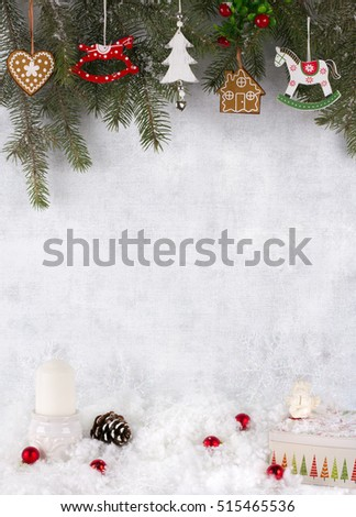Christmas decoration over grunge background christmas card
