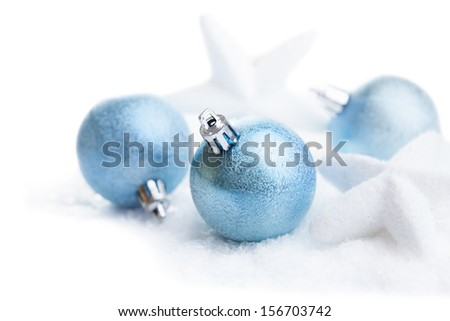christmas decoration over snow isolated - stock photo