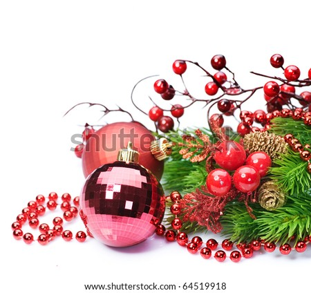 Christmas decoration over white - stock photo