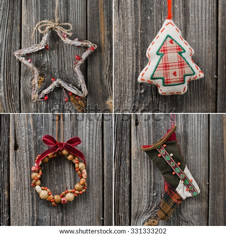 Christmas decoration over wooden background. Star on a rope - stock photo