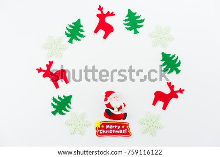 Christmas decoration paper, Christmas tree, dear, Santa Claus on white background. Flat lay, top view