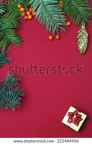 Christmas decoration, Pine tree on red background with copy space
