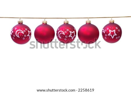 Christmas decoration red ball on white background - stock photo