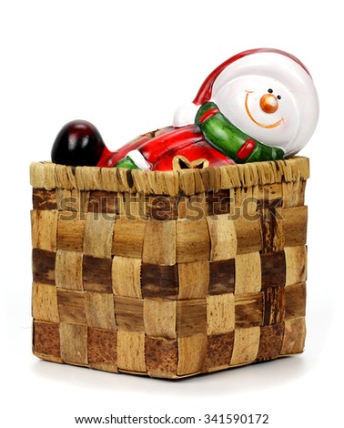 christmas decoration Santa Claus in a box - stock photo