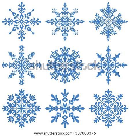 Christmas Decoration, Set Blue Silhouette Snowflakes on White Background.  - stock photo