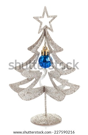 Christmas decoration silver tree with star isolated on a white background - stock photo
