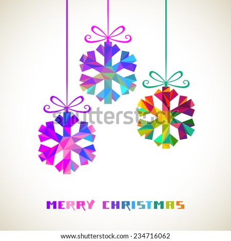 Christmas decoration - snowflakes. Winter original design element. Festive greeting, invitation card. Decorative Illustration for print, web - stock photo