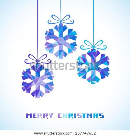 Christmas decoration - snowflakes. Winter original design element. Festive greeting, invitation card. Decorative Illustration for print, web - stock photo