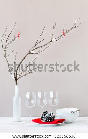Christmas decoration table display, simple elegant modern minimalist ornaments - stock photo