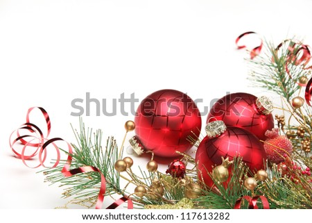Christmas decoration with balls and fir branch. - stock photo