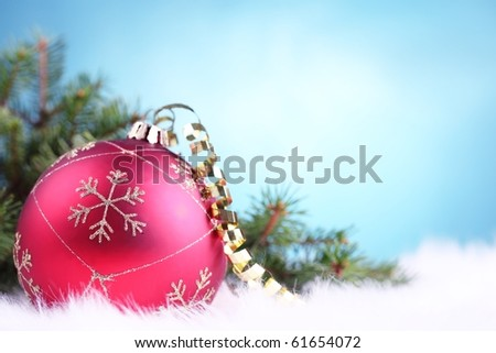 Christmas decoration with bauble and pine branch,Closeup. - stock photo