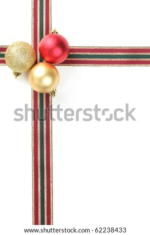 Christmas Decoration with baubles and ribbon. - stock photo