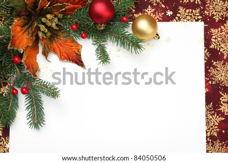 Christmas decoration with blank card.