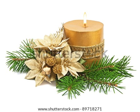 Christmas decoration with candles and poinsettia on white - stock photo