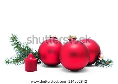 Christmas decoration with christmas balls and candle - stock photo