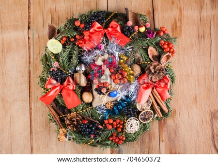 Christmas decoration with christmas wreath. Happy new year. Holiday background