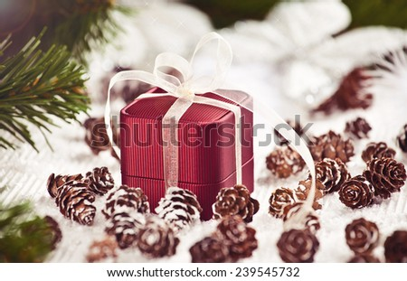 Christmas decoration with elegant box. Great Christmas present with love - Jewelry Box.  - stock photo