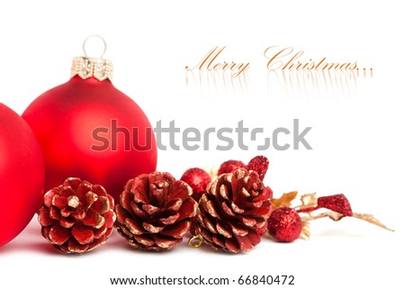 Christmas decoration with european holly - stock photo
