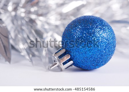 Christmas decoration with festive decoration Merry Christmas and Happy New Year on abstract background .