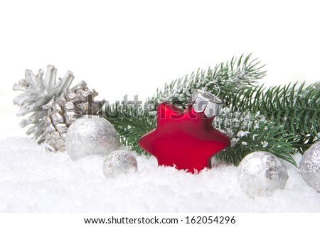 christmas, decoration with fir branch, pine cones, christmas bauble, christmas star red and white - stock photo
