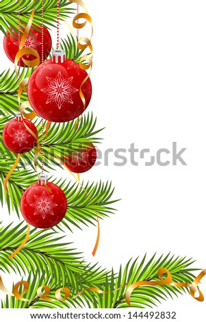Christmas decoration with fir tree baubles and ribbons - stock photo