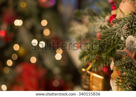 Christmas decoration with fireplace - stock photo