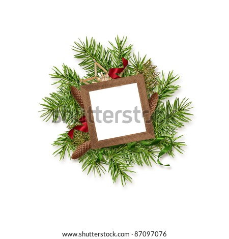 Christmas decoration with frame isolated on white background - stock photo