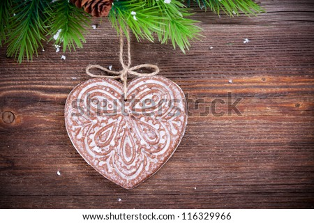 Christmas decoration  with gingerbread - stock photo