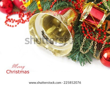 Christmas decoration with new year tree isolated on white background. Merry Christmas and Happy New Yer - stock photo