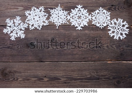 Christmas decoration with paper snowflake  - copy space