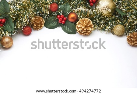 Christmas decoration with Pine cone, ornament, Isolated on white background.