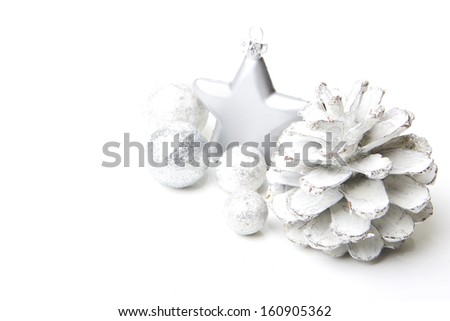 christmas, decoration with pine cones, christmas star silver - stock photo