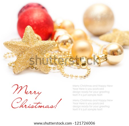 Christmas decoration with red and gold balls and stars - stock photo