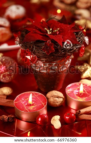 Christmas decoration with rose and balls in red tone