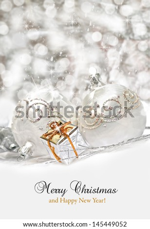 Christmas decoration with snow in the background  - stock photo
