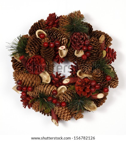 Christmas decoration with the cones - stock photo