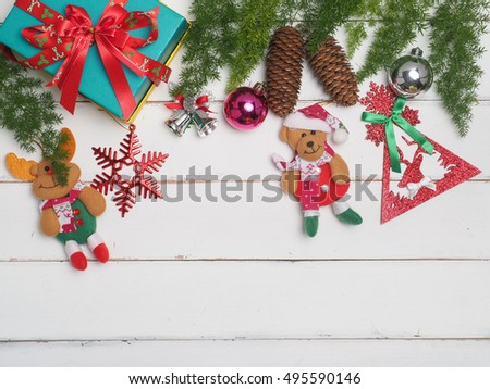 christmas decoration with wood  background