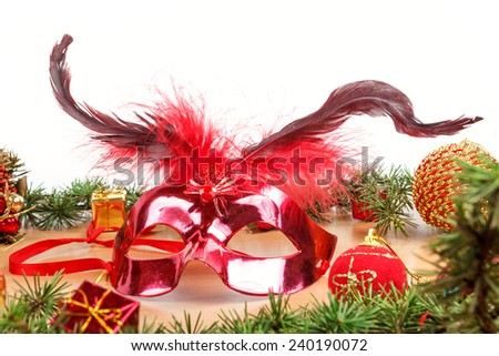 Christmas decoration with yellow ornamentals and green fir tree on white surface with copyspace. Christian festive decoration. Blank space place for text and advertising - stock photo