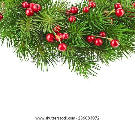 Christmas decoration wreath  isolated on white background - stock photo