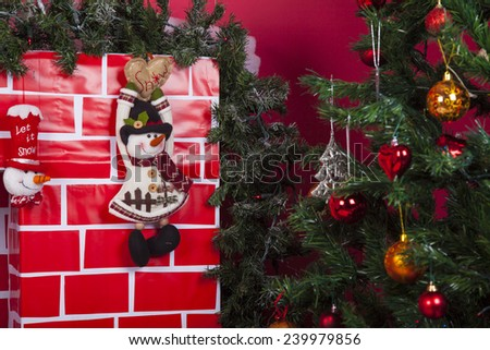 Christmas decorations against lights background - stock photo