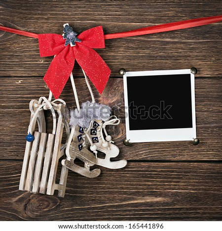 Christmas decorations and old photo frame from - stock photo