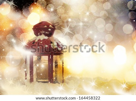 Christmas decorations and red lantern - stock photo