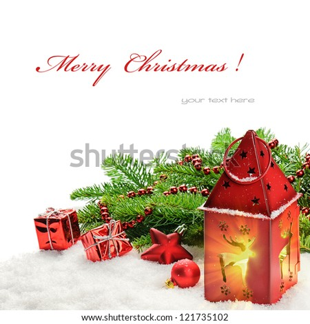 Christmas decorations and red lantern with magic light - stock photo