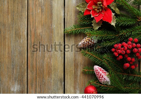 christmas decorations and spruce on boards - stock photo