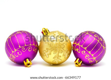 Christmas decorations - balls on a white background with space for text