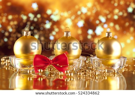Christmas decorations - baubles on abstract background